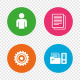 Accounting workflow icons. Human documents. Accounting workflow icons. Human silhouette, cogwheel gear and documents folders signs symbols. Round buttons on Stock Photo