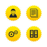 Accounting workflow icons. Human documents. Accounting workflow icons. Human silhouette, cogwheel gear and documents folders signs symbols. Yellow stars labels Stock Image