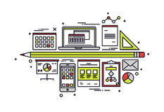 Accounting workflow line style illustration. Thin line flat design of accounting financial data, web database with business graph, tax planning and company Royalty Free Stock Photography