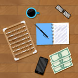 Accounting workplace vector. Financial office, calculation accounting illustration Royalty Free Stock Photo