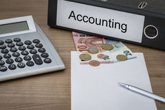 Accounting written on a binder Stock Photos
