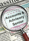 Accounts And Advisory Senior Wanted. 3D. Magnifier Over Newspaper with Vacancy of Accounts And Advisory Senior. Illustration of Jobs of Accounts And Advisory Stock Photography
