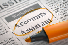 Accounts Assistant Join Our Team. 3D. Accounts Assistant. Newspaper with the Small Advertising, Circled with a Orange Marker. Blurred Image. Selective focus Royalty Free Stock Images