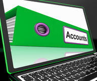 Accounts File On Laptop Shows Accounting Royalty Free Stock Images