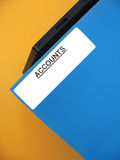 "Accounts Folder. A blue folder sitting on an office tray. The word ""ACCOUNTS"" is printed on the label royalty free stock images"