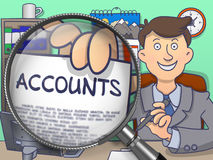Accounts through Magnifier. Doodle Concept. Royalty Free Stock Photography