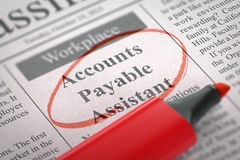 Accounts Payable Assistant Join Our Team. 3D. A Newspaper Column in the Classifieds with the Jobs of Accounts Payable Assistant, Circled with a Red Marker Royalty Free Stock Photo