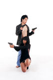 Accouplez la silhouette révélatrice de criminel d'agent secret d'homme de femme Photo stock