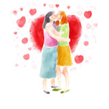 Accouplez les baisers Images libres de droits