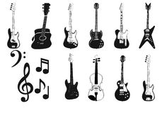 Accoustic and electric Guitars silhouette Stock Photos