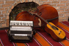 Accoustic guitar and contrabass with accordion Royalty Free Stock Photo