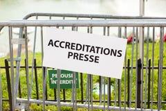 Accréditation de presse - presse d'accréditation dans les Frances Photo libre de droits