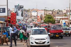 ACCRA, GHANA � MARCH 18: Traffic on road in Accra, capital city stock images