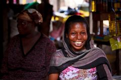 ACCRA, GHANA � MARCH 18: Unidentified African woman pose with s stock photos