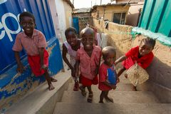 ACCRA, GHANA � MARCH 18: Unidentified group of African kids gree stock image