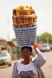 ACCRA, GHANA � MARCH 18: Unidentified young african girl carry f Royalty Free Stock Photography