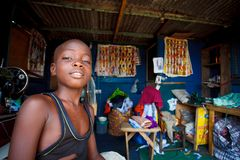 ACCRA, GHANA � MARCH 18: Unidentified african boy working in tai Stock Images
