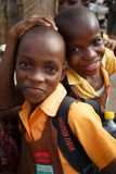ACCRA, GHANA � MARCH 18: Unidentified African student kids  gree Royalty Free Stock Image