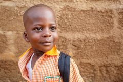 ACCRA, GHANA � MARCH 18: Unidentified young African boy with bri Royalty Free Stock Image