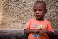 ACCRA, GHANA � MARCH 18: Unidentified young African boy with bri Stock Images