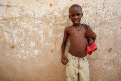 ACCRA, GHANA � MARCH 18: Unidentified young african boy  pose wi Royalty Free Stock Images