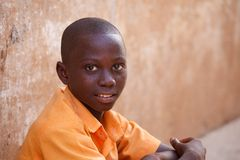 ACCRA, GHANA � MARCH 18: Unidentified young African boy  pose wi Stock Photos