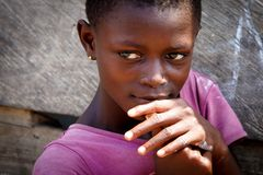 ACCRA, GHANA � MARCH 18: Unidentified young african girl pose fo Stock Photos