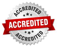 Accredited. Silver badge with red ribbon vector illustration