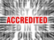 Accredited. Blurred text with focus on vector illustration