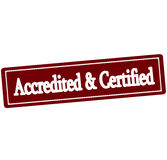 Accredited and certified. Rubber stamp with text accredited and certified inside,  illustration Stock Images