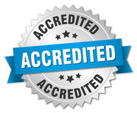 Accredited 3d silver badge. With blue ribbon Stock Photos