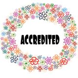 ACCREDITED in floral frame. Illustration graphic concept image Royalty Free Stock Images