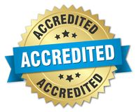 Accredited. Gold badge with blue ribbon vector illustration