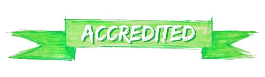 Accredited ribbon. Accredited hand painted ribbon sign stock illustration