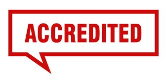 Accredited speech bubble. Accredited isolated sign.  accredited stock illustration