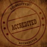 ACCREDITED stamp on old brown crumpled paper. Illustration Stock Photo