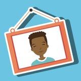 accrocher de photo encadré par garçon de visage Image stock