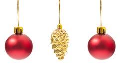 Accrocher de trois globes de Noël Image libre de droits