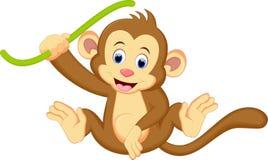 Accrocher mignon de bande dessinée de singe illustration stock