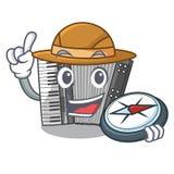 Accrodion miniature d'explorateur dans la mascotte de forme illustration de vecteur