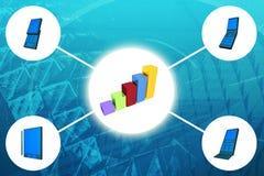 Accroissement mobile de l'usage affiché sur le diagramme à barres d'affaires illustration de vecteur