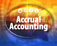 Accrual accounting Business term speech bubble illustration. Speech bubble dialog illustration of business term saying Accrual accounting Stock Image