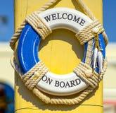 Accueil à bord d'invitation sur le bateau Photographie stock libre de droits