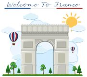 Accueil à france arch de triumph illustration stock