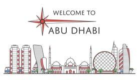 Accueil à l'affiche d'Abu Dhabi dans le style linéaire Illustration Libre de Droits