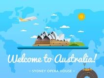 Accueil à l'affiche d'Australie avec l'attraction célèbre illustration de vecteur