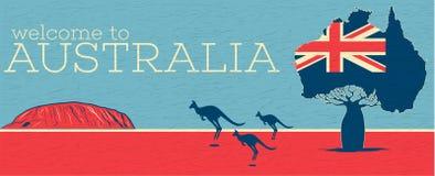 Accueil à l'affiche de vintage d'Australie illustration stock