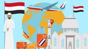 Accueil à la carte postale du Yémen Concept de voyage et de voyage d'illustration islamique de vecteur de pays avec le drapeau na illustration de vecteur