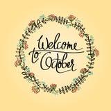 Accueil à la conception typographique d'octobre calligraphie Photographie stock