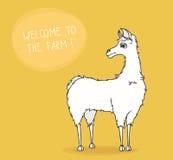 Accueil à la ferme ! Le lama mignon vous invite - illustration de vecteur Image stock